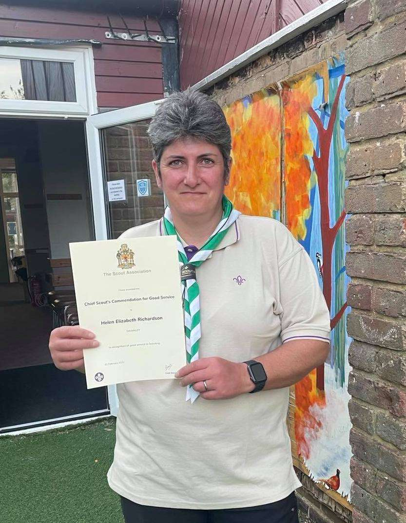 Kelly is awarded the Chief Scouts Commendation
